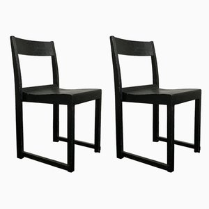Swedish Black Stackable Side Chairs by Sven Markelius, 1930s, Set of 2
