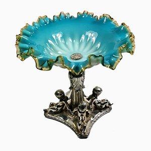 Antiker französischer verzierter & versilberter Louis Philippe Tafelaufsatz aus blauem Opalglas