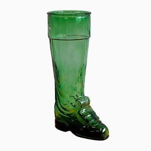 Jarra vintage grande en forma de bota de vidrio verde de Salamander Shoe Company, años 30