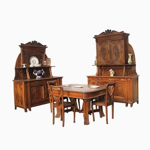 Antique Art Nouveau Cherrywood Dining Room Set from Pierre Mathieu
