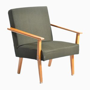 Green Fabric and Beech Armchair from Jitona, 1960s