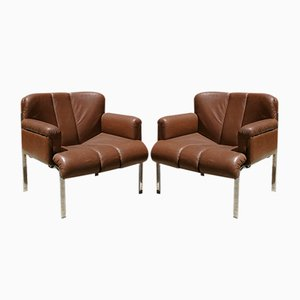 Vintage Italian Steel and Brown Leather Armchairs, Set of 2