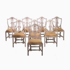 Antike Esszimmerstühle aus geschnitztem Holz, 8er Set