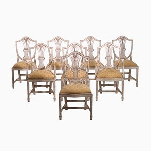 Antique Carved Wood Dining Chairs, Set of 8