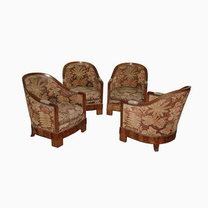 Art Deco Lounge Chairs, 1930s, Set of 4