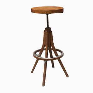 Mid-Century Italian Beech and Steel Adjustable Stool, 1950s