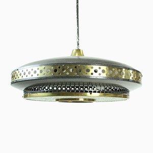 Lampada da soffitto Mid-Century in metallo nero e ottone, anni '70