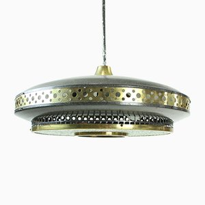 Mid-Century Black Metal and Brass Ceiling Lamp, 1970s