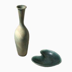 Vase and Plate Set par Gunnar Nylund pour Rörstrand, années 50