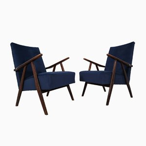 Mid-Century French Blue Velvet Lounge Chairs, 1960s, Set of 2