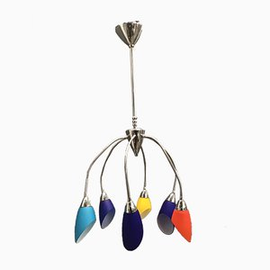 Vintage Opaline Glass Chandelier, 1980s