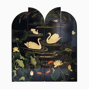 Biombo francés vintage decorado con cisnes y flores, años 70