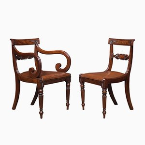 Antique William IV Mahogany Dining Chairs, Set of 8