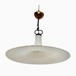 Vintage Deckenlampe aus Muranoglas mit Spiralmuster, 1960er