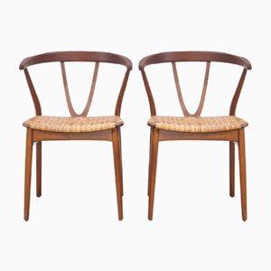 Modell 225 Esszimmerstühle aus Teak & Schilfrohr von Henning Kjærnulf für Bruno Hansen, 1960er, 2er Set