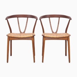 Teak and Cane Model 225 Dining Chairs by Henning Kjærnulf for Bruno Hansen, 1960s, Set of 2