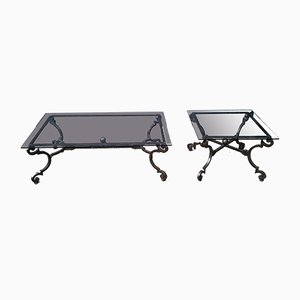 Vintage Neoclassical Wrought Iron Coffee Table from Roche Bobois