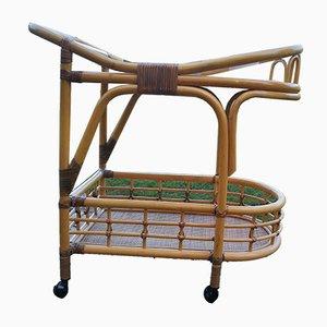 Carrello di servizio vintage in bambù e vimini, anni '70