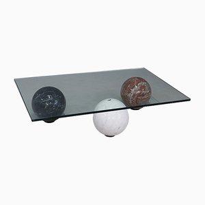 Tavolino da caffè vintage in marmo bianco, nero e rosso e vetro di Cattelan Italia, anni '90