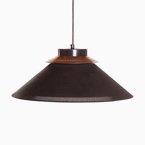 Mid-Century Scandinavian Black Copper and Glass Pendant Lamp, 1960s