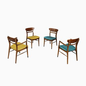 Amerikanische Mid-Century Esszimmerstühle aus Holz & Leder, 1950er, 4er Set