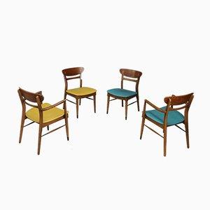 Sedie da pranzo Mid-Century in legno e pelle, Stati Uniti, anni '50, set di 4