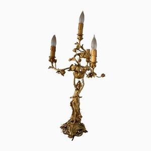 Antike Jugendstil Tischlampe aus vergoldeter Bronze