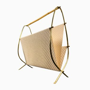 German Brass Magazine Rack, 1950s