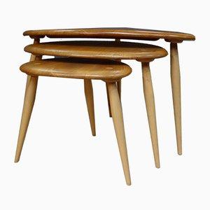 Tables Gigognes Modèle Blonde Pebble par Lucian Ercolani pour Ercol, années 60