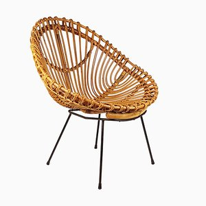 Mid-Century Italian Rattan and Black Metal Armchair, 1950s