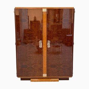 Art Deco French Birch and Silver Leaf Cabinet, 1920s