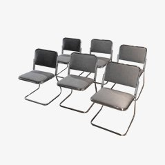 Sedie impilabili in metallo cromato, anni '70, set di 6
