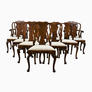 Vintage Queen Anne Style Walnut Dining Chairs, Set of 14