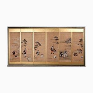 Antiker goldfarbener japanischer Raumteiler