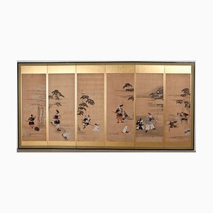 Antique Japanese Golden Folding Room Divider