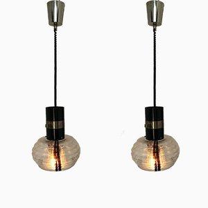 Lampade da soffitto vintage in vetro di Murano e metallo, anni '60, set di 2