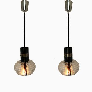 Vintage Murano Glass and Metal Ceiling Lamps, 1960s, Set of 2
