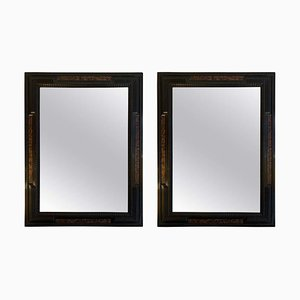 Antique Faux Tortoise Shell and Ebonized Mirrors, Set of 2