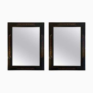 Specchi antichi con effetto tartaruga ebanizzati, set d i2