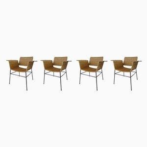 Vintage Stühle aus Korbgeflecht von Herta Maria Witzemann für Erwin Behr, 1950er, 4er Set