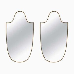 Italienische Mid-Century Spiegel mit Rahmen aus Messing in Schild-Optik, 2er Set