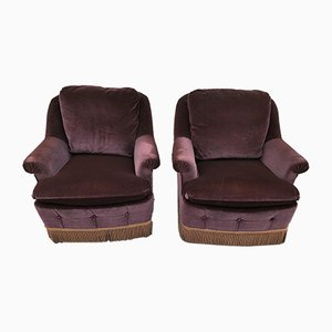 Vintage Aubergine Velvet Lounge Chairs, 1970s, Set of 2