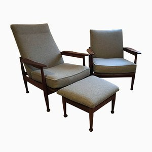 Mid-Century Afromosia Adjustable Armchairs and Footstool Set from Guy Rogers, 1960s