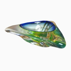 Italian Blue and Green Murano Glass Sommersi Ashtray, 1950s