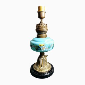 Antique French Light Blue Opaline Glass, Ceramic, and Brass Table Lamp