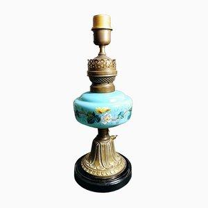 Lampe de Bureau Antique en Verre Opalin Bleu Clair, en Céramique et en Laiton, France