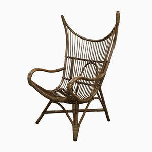 Rattan Wingback Lounge Chair, 1960s