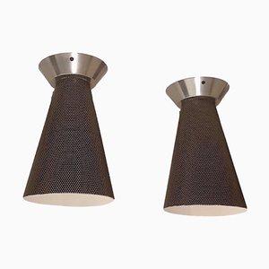 Lámparas de techo de metal reforzado y cromo, años 60. Juego de 2