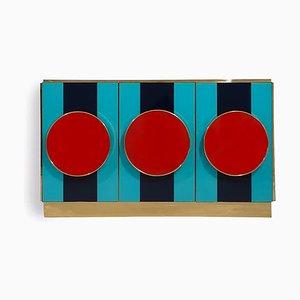 Italienisches Sideboard aus getöntem Glas & Messing, 1989