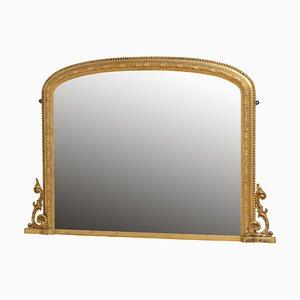 Grand Miroir d'Époque Victorien en Bois Doré